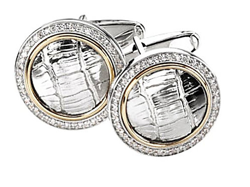 14k/925 Diamond & Gator Cufflinks