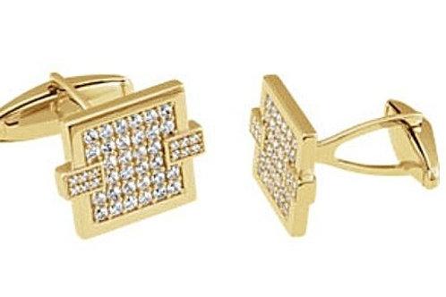 14k Yellow Gold Diamond Cufflinks