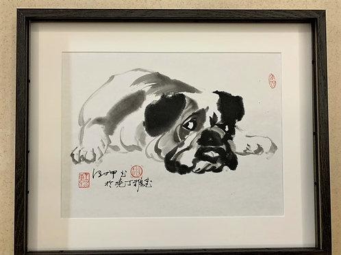 "P1007: Framed Chinese Painting; Original; ""English Bull Dog"""