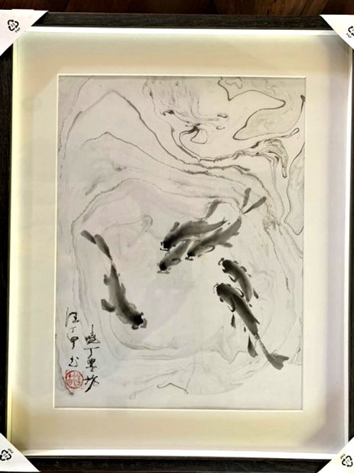"""P1012: Framed Chinese Painting; Original;Fish """"Play Time"""""""