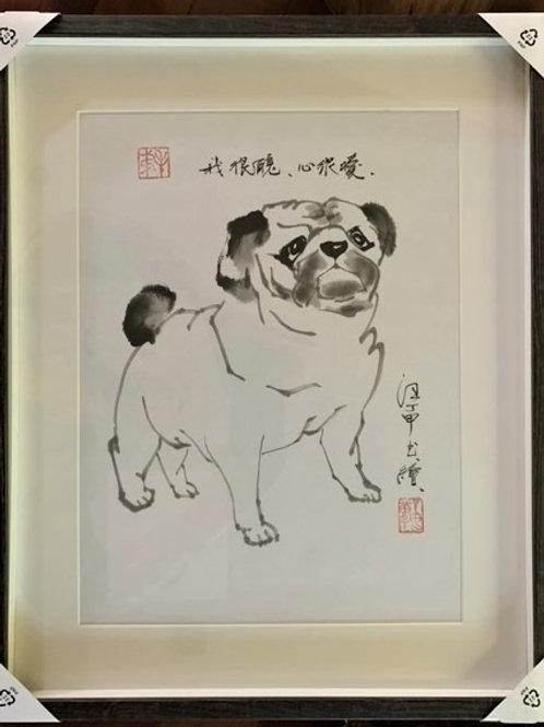 P1007-1: Framed Chinese Painting; Original; Pug