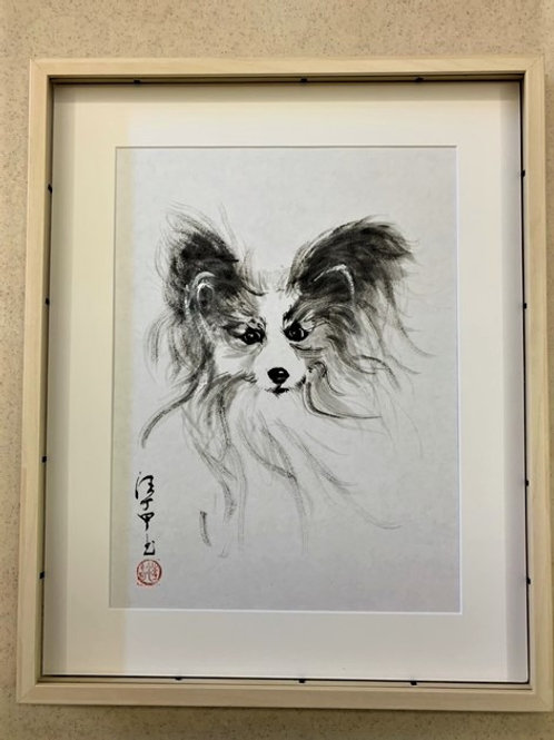 P1010: Framed Chinese Painting; Original;Papillon