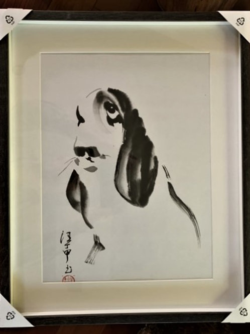 P1009: Framed Chinese Painting; Original;Basset Hound