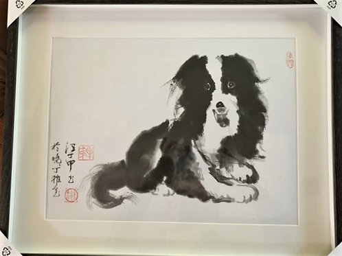 P1008: Framed Chinese Painting; Original;Border Collie