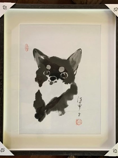 "P1003: Framed Chinese Painting; Original; ""Chihuahua"""