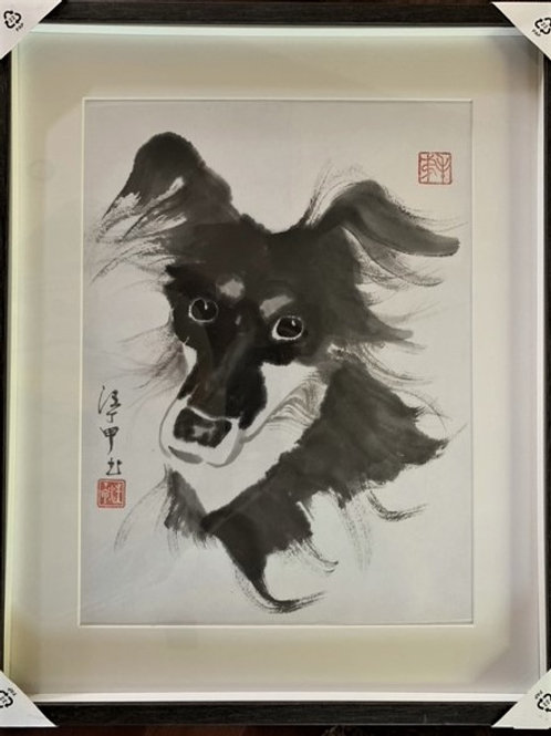 "P1006: Framed Chinese Painting; Original; ""DuoDuo: Our Mascot"""