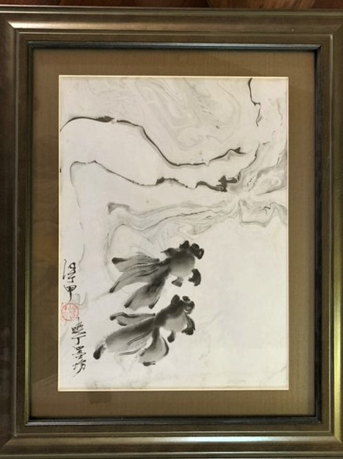 P1011: Framed Chinese Painting; Original;Goldfish