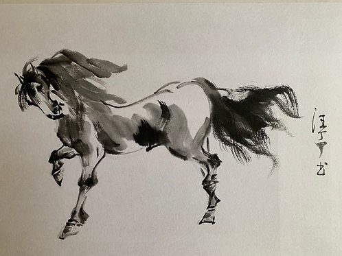 P1102: Framed Painting; Original; Horse; Brush ink; Simi abstract