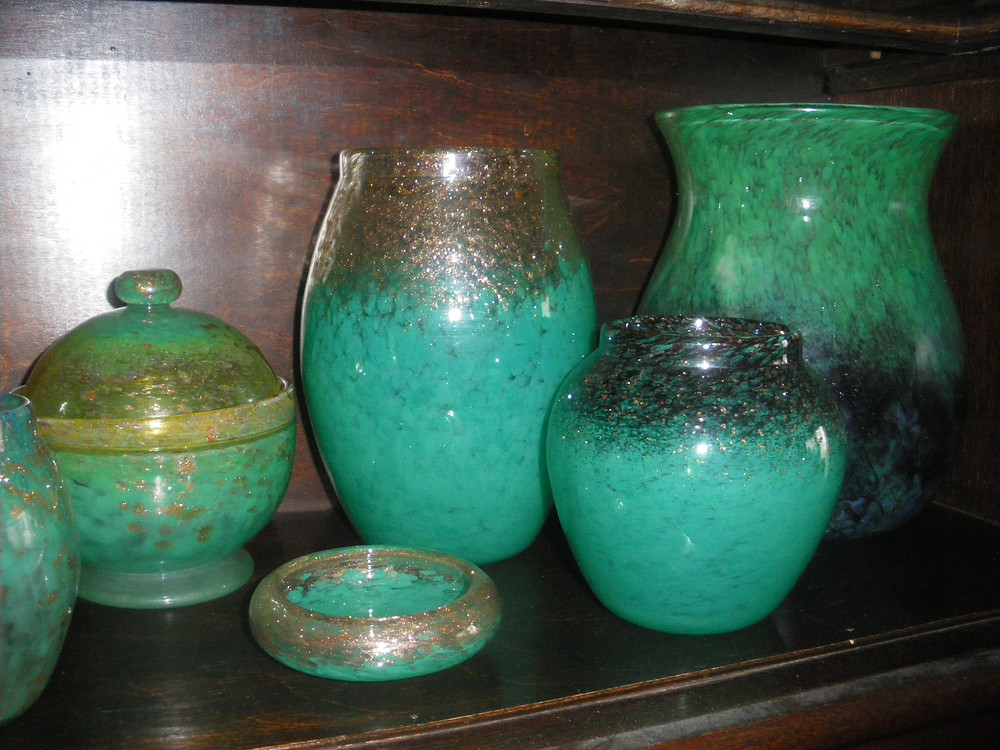 Small selection of Monart glass (my pension fund)