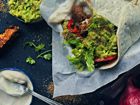 Tex Mex Wrap with Spanish Pulled Carrot Burger, guacemole and Aioli