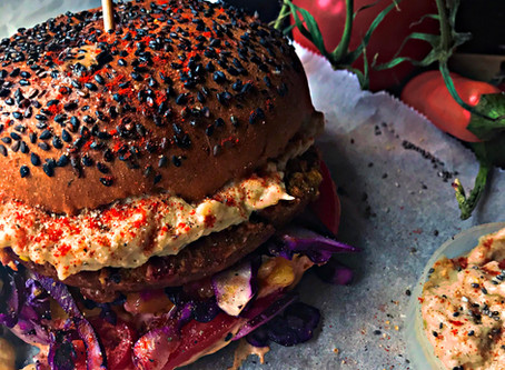 Spanish  Pulled Carrot Burger Deluxe with Smokey Mayonnaise