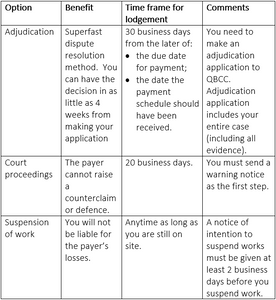No payment schedule and not paid by the due date - Table showing option, benefit, time frame for lodgement and comments. Key words: adjudication, dispute resolution, 30 business days, payment schedule, due date, adjudication application, QBCC, court proceedings, counterclaim, 20 business days, warning notice, suspension of work, notice of intention to suspend works, 2 business days.