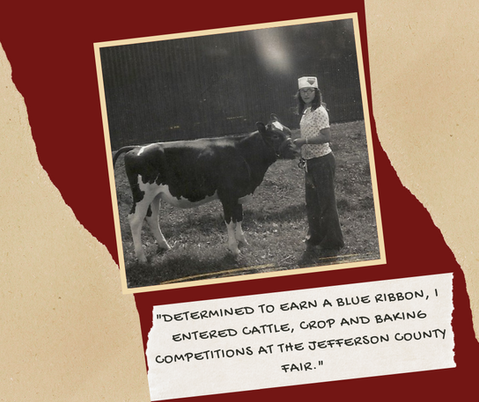 """Determined to earn a blue ribbon, I entered cattle, crop, and baking competitions at the Jefferson County Fair."""