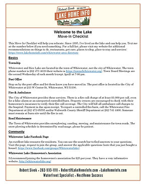 Move-In Checklist - Town of Whitewater 2