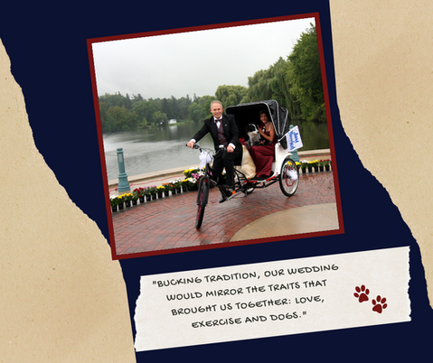 """Bucking tradition our wedding would mirror the traits that brought us together: love, exercise, and dogs."""