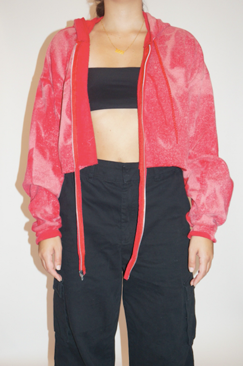 BLEACHED CROPPED ZIP UP