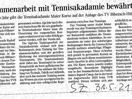 Schwäbische Zeitung: Kooperation TVB-Tennisakademie Maier