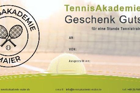 Geschenk Gutschein für 1h Tennistraining
