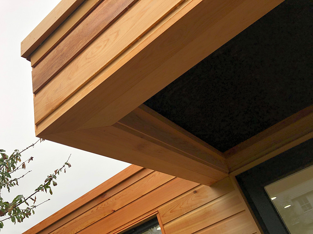 Canadian cedar cladding roof detail