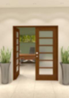 6 light doors in study