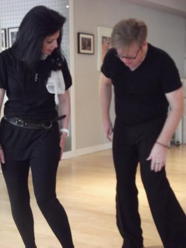 Karen Hardy with dance teacher Jack