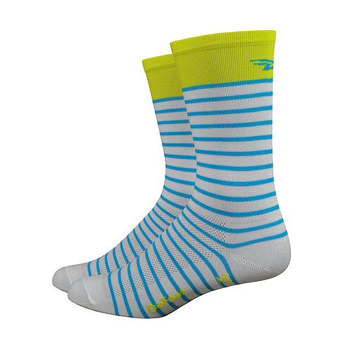 """DeFeet Aireator 6"""" Sailor Sock - White/Sulpher/Blue"""