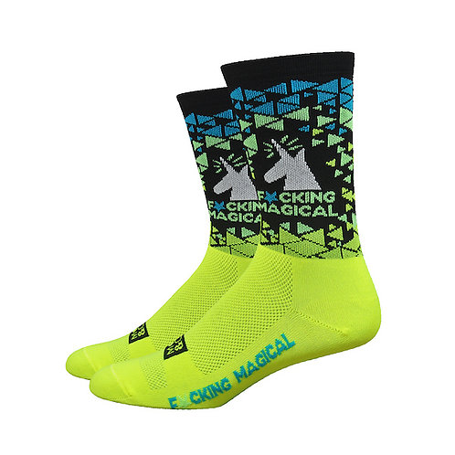 "DEFEET Moxy & Grit 6"" F*cking Magical Unicorn (Hi-Vis Yellow/Black)"