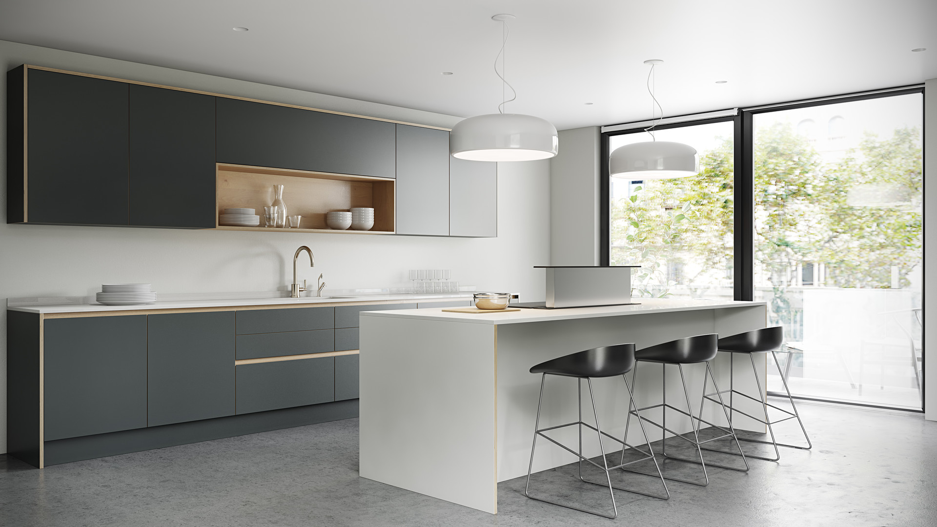 Plywood Painted Kitchen