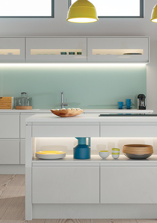 Strada Gloss Light Grey Kitchen