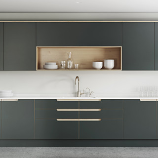 Plywood Painted Kitchen - Integrated Handle Option 5