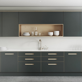 Plywood Painted Kitchen - Integrated Handle Option 4