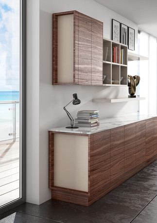 Alta & Deda Medium Walnut with Inset Glass End Panels