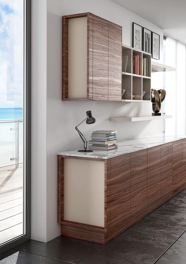 Alta & Deda Medium Walnut with Inset Glass End Panels