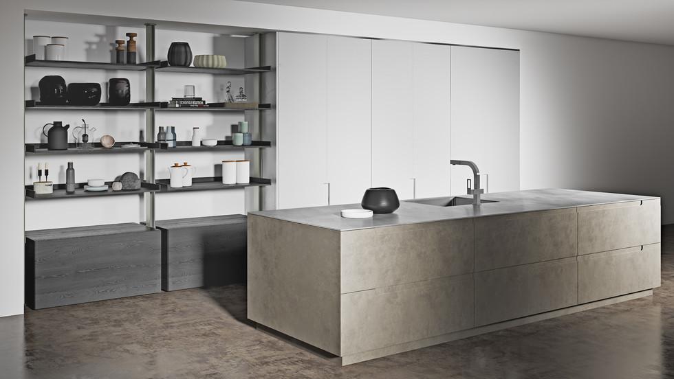 Pietra Brown Metallico White Kitchen
