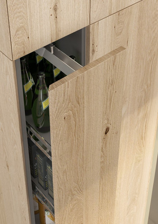 Deda - Natural Knotty Oak -Bevelled Pull Out Larder