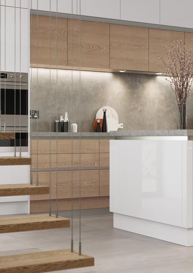 Gloss White, Veneered Oak and Concrete Kitchen