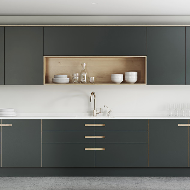 Plywood Painted Kitchen - Integrated Handle Option 3