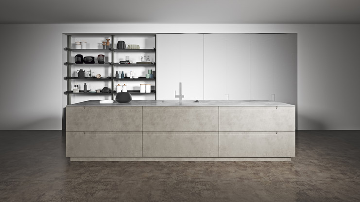 Pietra Brown Metallico White Kitchen