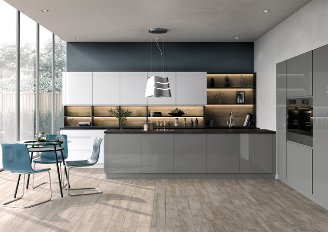 Two Tone Gloss Kitchen in Light and Dust Grey