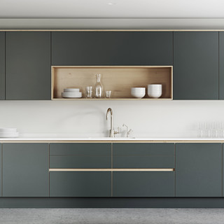 Plywood Painted Kitchen - Integrated Handle Oprtion 1