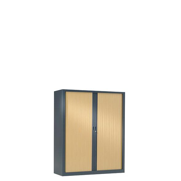 Armoire à rideaux bicolore 100 x 80 cm - Corps gris anthracite - Rideaux