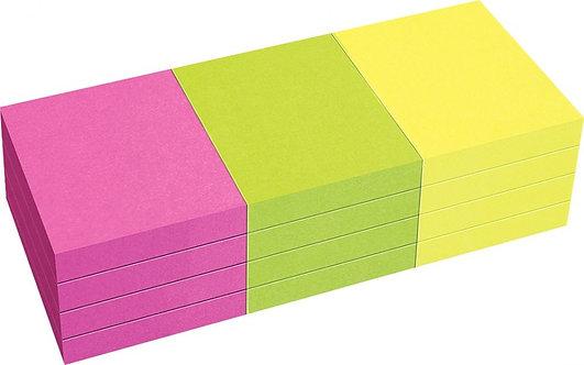Lot 12 blocs notes repositionnables 80 feuilles 4x5cm couleurs vives