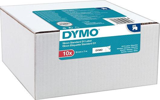 Pack de 10 recharges Dymo D1  19mm noir sur blanc