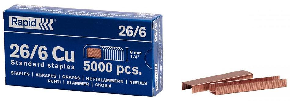 Boîte de 5000 agrafes 26/6 cuivrées