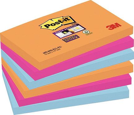 Paquet 6 blocs 90 feuilles Super Sticky post-it, 76x127 mm, couleurs pétillantes