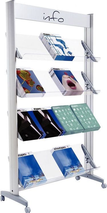 Présentoir métal 4 tablettes / 16 documents
