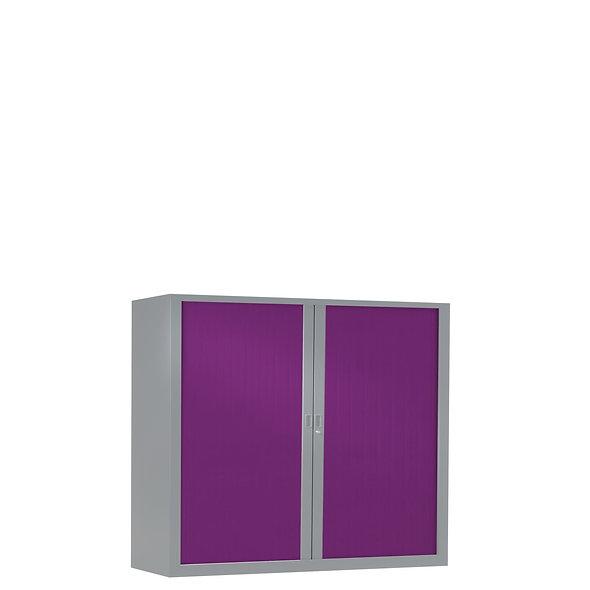 Armoire à rideaux bicolore 100 x 100 cm - Corps gris aluminium- Rideaux