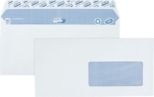 Boîte 500 Enveloppes blanches DL 110x220 90g/m² fenêtre 45x100 bande protection