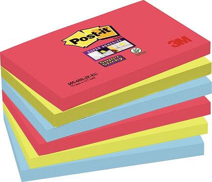 Paquet 6 blocs 90 feuilles Super Sticky post-it, 76x127 mm, couleurs Bora Bora