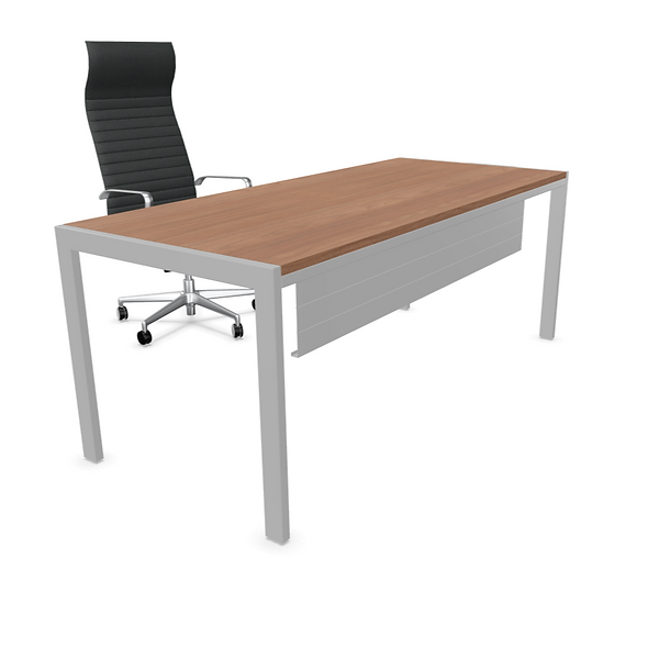 Table de bureau rectangulaire IRON - Plateau mélamine - Piétement Gris Aluminium